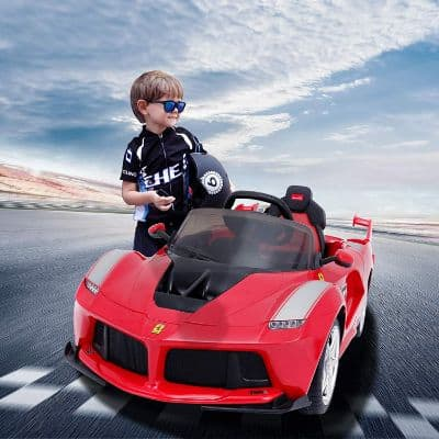 Uenjoy 12V Ferrari FXX K Kids Electric Ride On Cars Motorized Vehicles w:Remote Control, Leather Seat