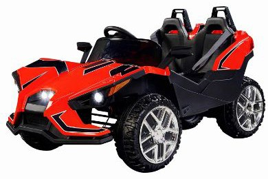 Uenjoy 2 Seats Kids Car 12V Ride-on Racer Cars w:Remote Control, Spring Suspension Wheels, 4 Speeds