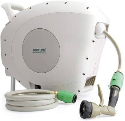 HOSELINK Automatic Retractable Garden Hose Reel with 7-Function Spray Gun