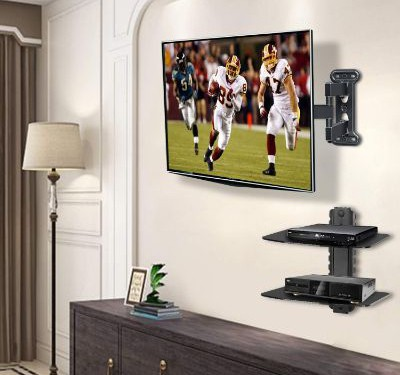 Mounting Dream Full Motion TV Wall Mount of 26-55 inch TV and DVD Floating Shelf