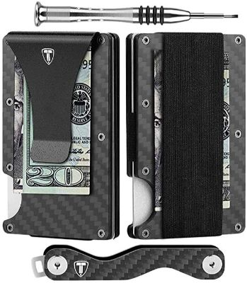 Minimalist Wallet for Men Carbon Fiber Card Holder Money Clip RFID Blocking