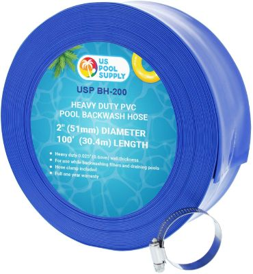 U.S. Pool Supply 2 x 100' Heavy Duty Blue PVC Swimming Pool Backwash Hose