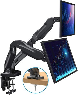 HUANUO Dual Monitor Stand - Adjustable Gas Spring Monitor Desk Mount VESA Bracket with C Clamp