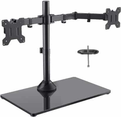 Freestanding Dual Monitor Stand - Adjustable Monitor Mount with Glass Base
