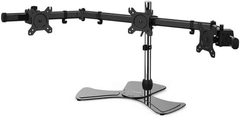 LANGRIA 3 Monitor Mount Arm Desk Freestanding Adjustable Height Stand Fits Monitor from 15'' to 27''