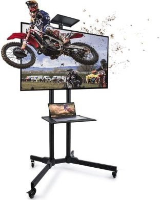 Mobile TV Cart with Wheels, Adjustable Rolling TV Stand