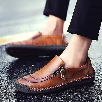 Mens Driving Casual Shoes Zipper Slip On Loafers Light-Weight Soft Comfortable Oxford Walking Shoes