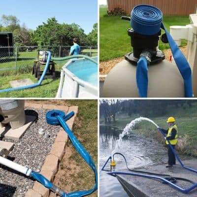 1-1:4 50' Blue PVC Lay-Flat Backwash Hose for Swimming Pools