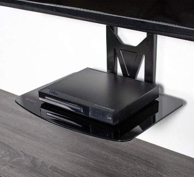 VIVO Black 32 to 55 inch TV Wall Mount for Flat Screens | Fixed Tilt and Entertainment Floating Shelf