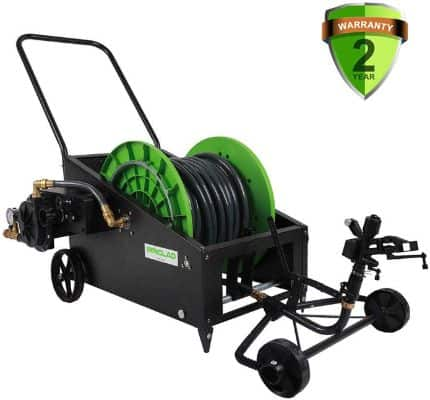 IRRIGLAD Mechanical Fully Automatic Irrigation Garden Hose Reel Cart, 131Ft Retractable Water Planting Truck