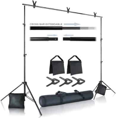 Julius Studio Photo Video Studio 10 ft. Wide Cross Bar 7 ft. Tall Background Stand Backdrop Support
