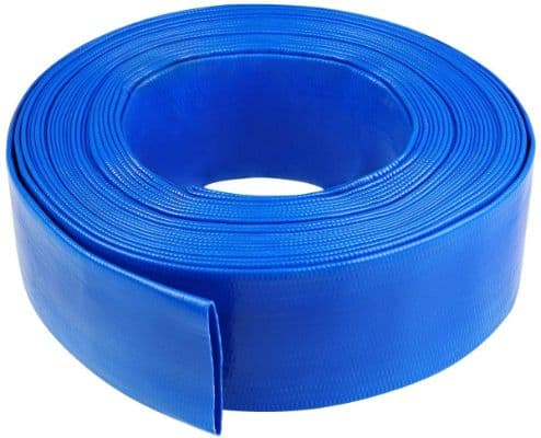 1-1:4 100' Blue PVC Lay-Flat Backwash Hose for Swimming Pools