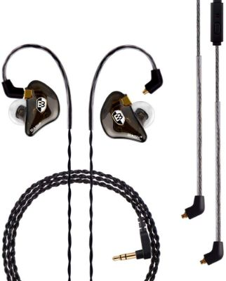 BASN Professional in-Ear Monitor Headphones for Singers Drummers Musicians with MMCX Connector Earphones