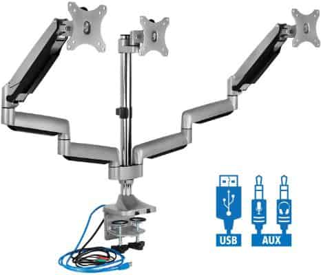 Mount-It! Triple Monitor Mount | Desk Stand with USB and Audio Ports