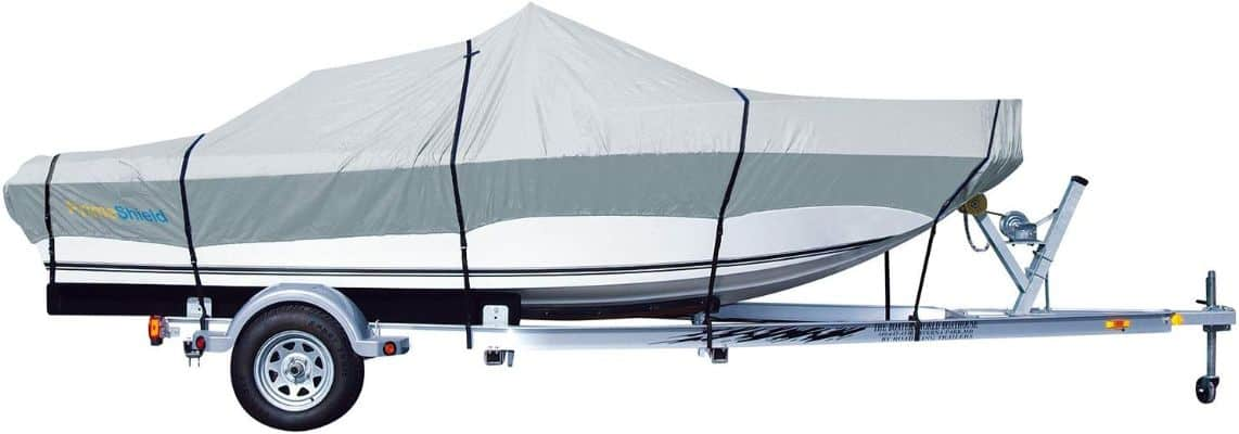 PrimeShield Heavy Duty Waterproof Boat Cover for V-Hull Runabouts