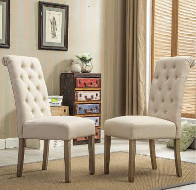 Roundhill Furniture Habit Solid Wood Tufted Parsons Dining Chair (Set of 2)