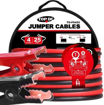 TOPDC Jumper Cables 4 Gauge 25 Feet Heavy Duty Booster Cables with Carry Bag