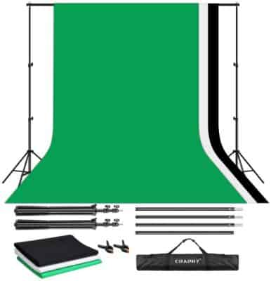 CRAPHY Upgraded Portable Photo Studio 10 x 6.5ft Background Stand Kit Backdrop Support System