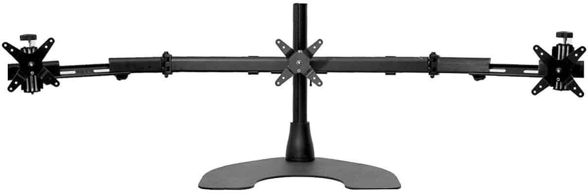 Ergotech Triple LCD Monitor Desk Mount Stand with Telescopic Wings:3 Screens up to 27