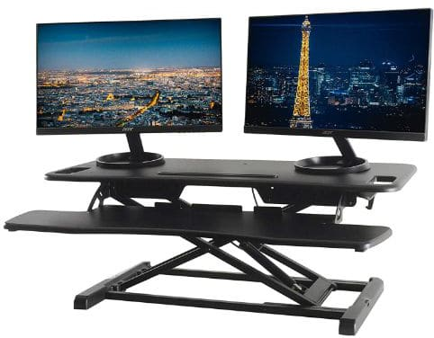 TechOrbits Standing Desk Converter - 37 Stand Up Desk Riser - Tabletop Sit Stand Desk Fits Dual Monitors
