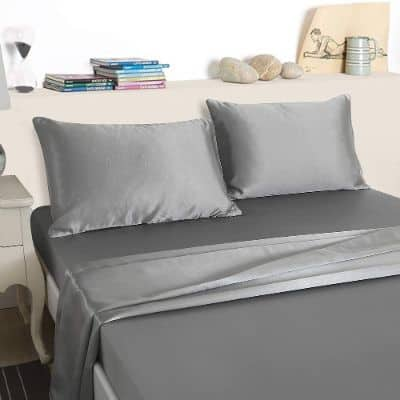 4 Pcs Grey Bed Sheet Set Silk Like Satin Sheet Set Silky Microfiber Deep Pocket Fitted Sheet Queen