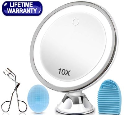 KINBON 10X Magnifying Lighted Makeup Mirror, LED Makeup Cosmetic Mirror