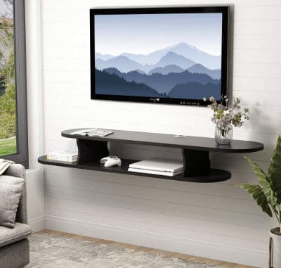 Tribesigns 2 Tier Modern Wall Mounted Media Console Floating TV Shelf