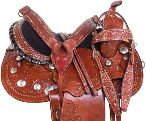 AceRugs Cowgirl UP Barrel Racing Racer Pleasure Trail Show Horse Silver Leather Saddle TACK Set 14 15 16 17 18