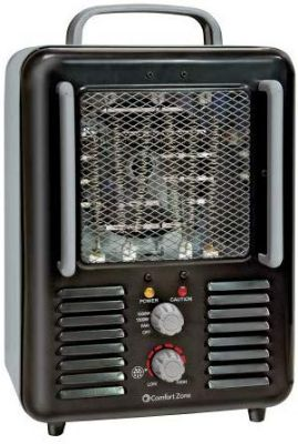 Comfort Zone CZ798BK Utility Milkhouse Portable Heater with Thermostat, Black