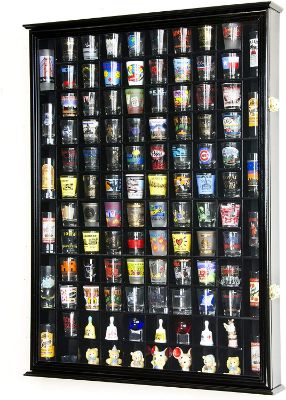 108 Shot Glass Shotglass Shooter Display Case Holder Cabinet Wall Rack 98% UV Double Door -Black