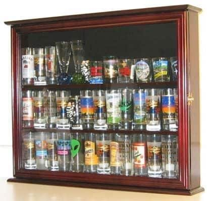Souvenir State Hard Rock Shot Glass and Tall Shooter Display Case Holder Cabinet, Glass door