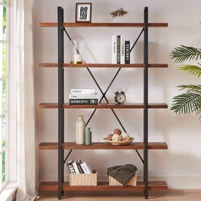 HSH Solid Wood Bookcase, 5 Tier Industrial Rustic Vintage Etagere Bookshelf