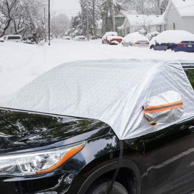 Universal Fit Windshield Snow Cover for Cars, Compact and Mid-size SUVs, and Anti-theft Tuck-in Flaps