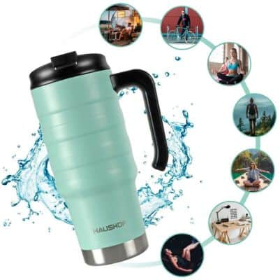 HAUSHOF 24 oz Travel Mug, Stainless Double Wall Vacuum Insulated Tumbler with Handle & Spill Proof
