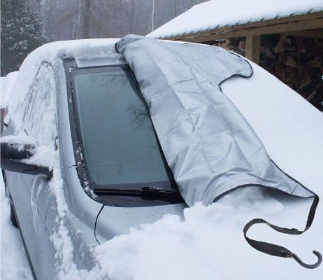 SnowOFF Windshield Snow Ice Cover - Custom Made Premium Quality Car Cover - Windproof Straps, Wings