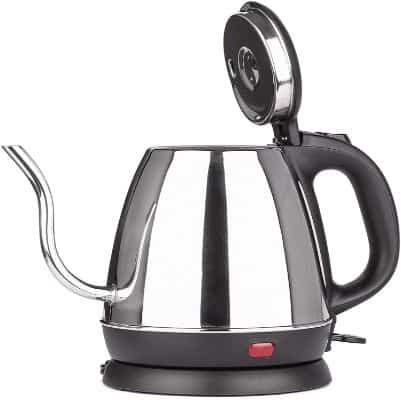 Zell Stainless Steel Electric Kettle | Precise Thin Spout for Pour Over Coffee or Tea | 1200w Fast Heat Up