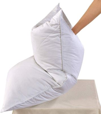 White Goose Feather Bed Pillow - 600 Thread Count Egyptian Cotton