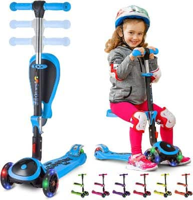 S SKIDEE Scooter for Kids with Foldable and Removable Seat