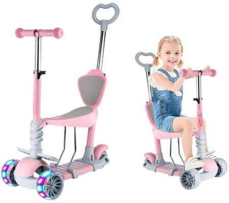 5 in 1 Kids Kick Scooter, 3 Wheels Walker