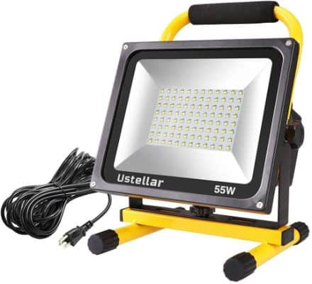 Ustellar 5500LM 55W LED Work Light (400W Matching), 2 Brightness Levels, Waterproof