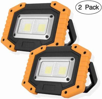 OTYTY 2 COB 30W 1500LM LED Work Light, Rechargeable Portable Waterproof LED Flooding Lights