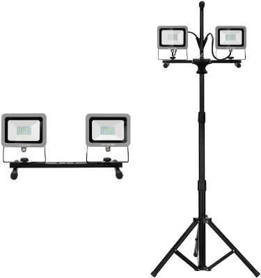 GALAX PRO Dual-Head 20W 4000 Lumen LED Work Light with Steel Light Housing and Telescoping Tripod