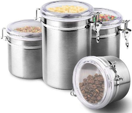 4-Piece Stainless Steel Airtight Canister Set