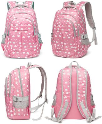 Hearts Print School Backpacks For Girls Kids