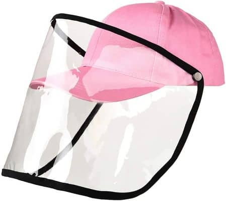 OOEOO Safety Face Shields Anti-spitting Protective Hat Cover Outdoor Fisherman Hat Adjustable Size (pink)