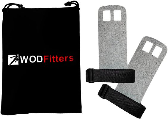 WODFitters Textured Leather Hand Grips for Cross Training, Kettlebells, Powerlifting, Chin Ups, Pull-Ups, and WODs