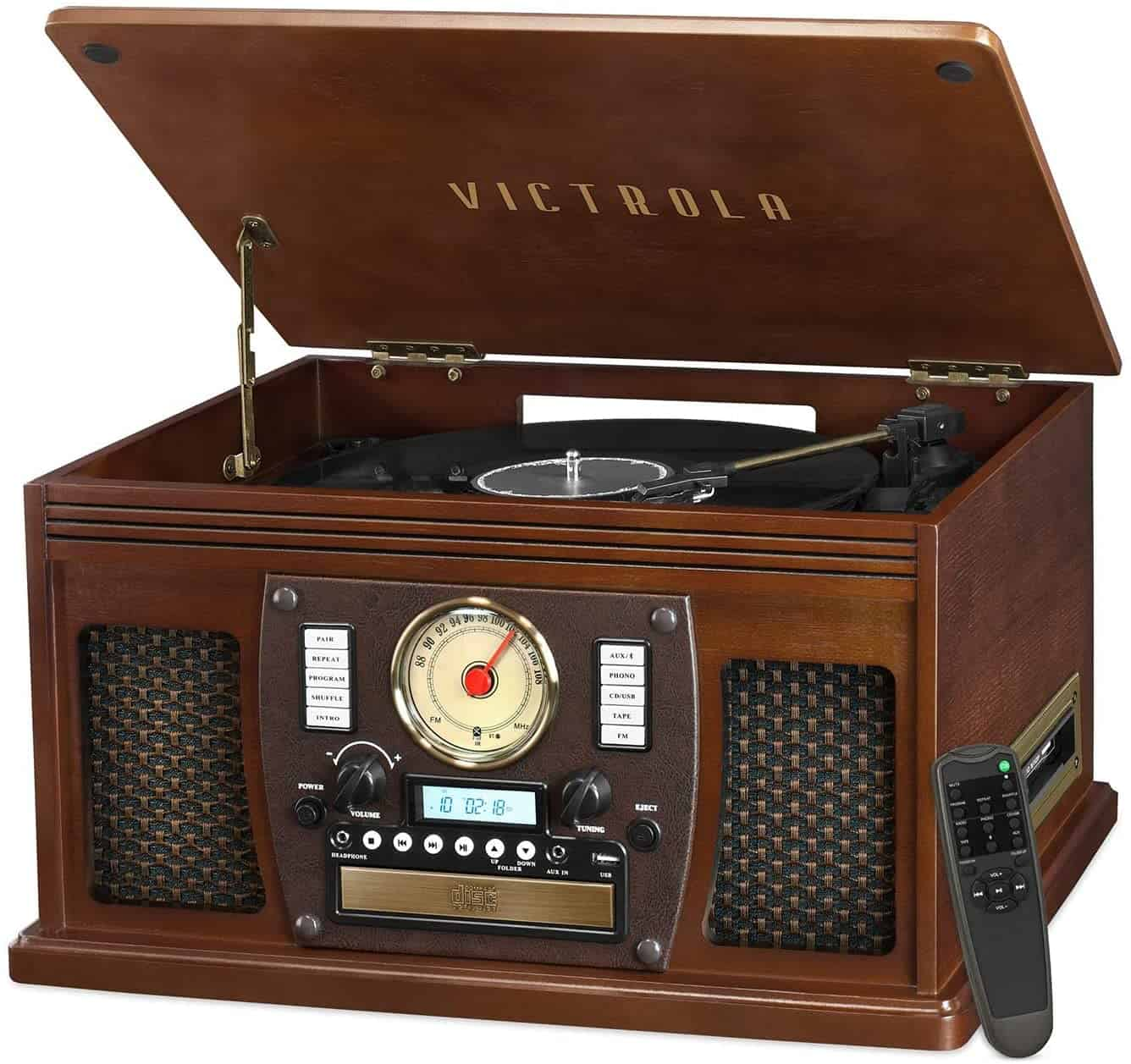 Victrola VTA-600B-ESP Navigator 8-In-1 Classic Bluetooth Record Player with USB Encoding