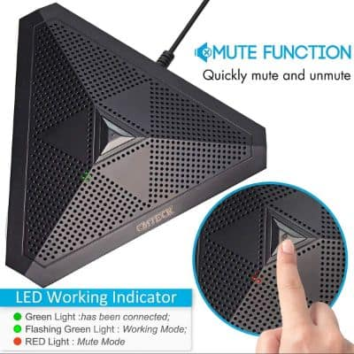 CMTECK USB Desktop Computer CM001 Microphone, Mute Button with LED Indicator