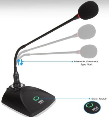 Desktop Gooseneck Wired Microphone System - Table Mounted Corded Voice Condenser Mic