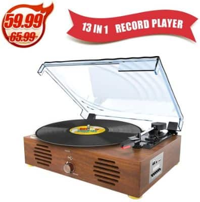 Record Player-13 in 1 Turntable with Speakers Vinyl Recording LP Bluetooth USB